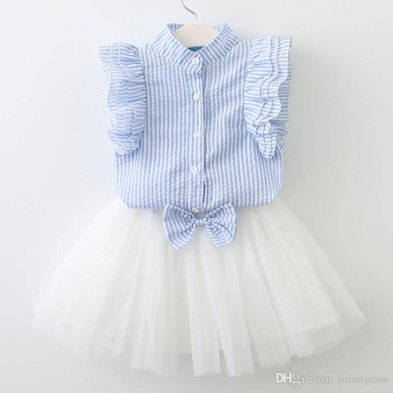 Lotus Sleeve Girls Fashion Summer Outfits Striped Stand 2 Piece Collar Shirt with White Tulle Skirt Set 18050501