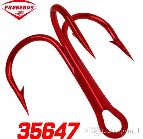 50pc FishHook Proberos 브랜드 낚시 후크 높은 탄소 철강 고음 후크 낚시 태클 라운드 구부림 고조 소금물베이스 2 # -10 #