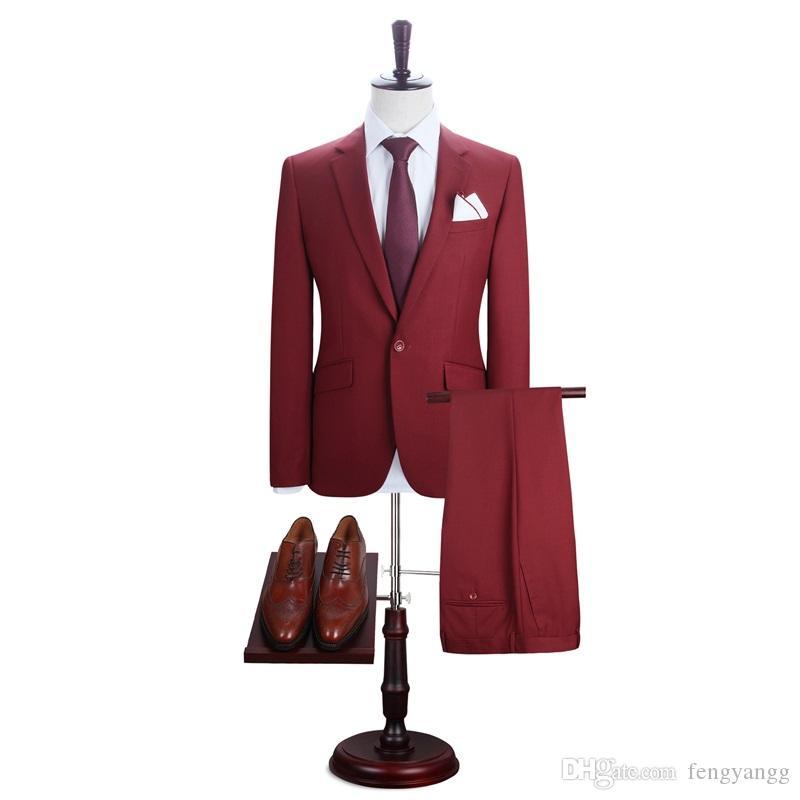 أحمر وسيم زر واحد 2 قطعة (سترة + سروال) لحفل عشاء البدلات الرسمية حقق حقق طوق تريم صالح الرجال الدعاوى مخصص