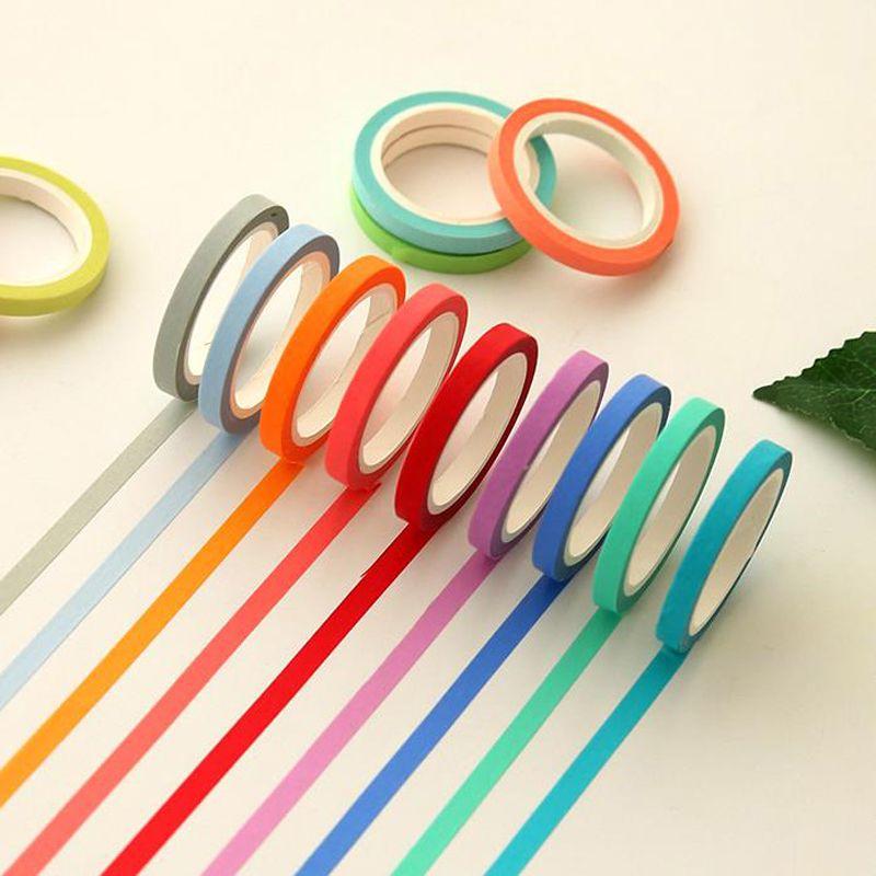 2016 4 Unids / lote Cinta washi de papel sólido de Color Sólido 5mm * 7 m Macarrón color caramelo decorativos cintas de enmascarar útiles escolares 02467