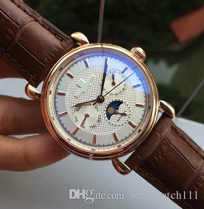 2018 Nuevo reloj automático de acero inoxidable de movimiento de acero inoxidable de la moda de cuero marrón de los hombres Reloj de pulsera automático de relojes de viento de los hombres de acero inoxidable