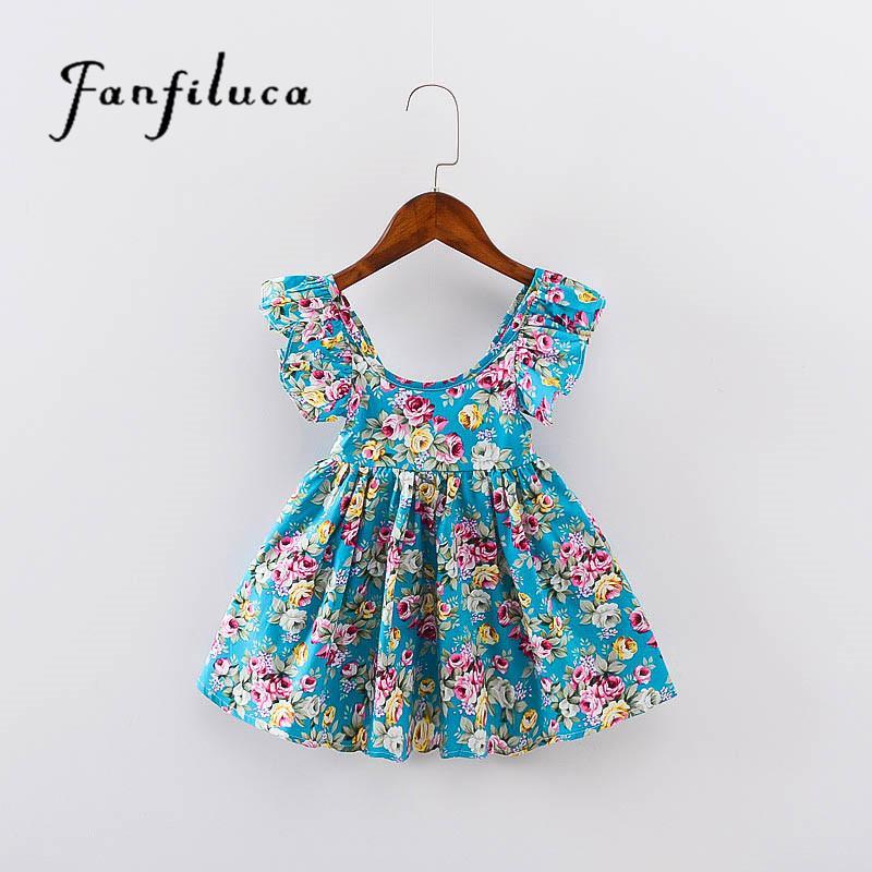 Compre Fanfiluca Vestidos Infantiles Para Niñas Vestidos De Moda Para Niñas Estilo De Verano Floral Vestido De Niña Bohemia Princesa Novedad Ropa Para