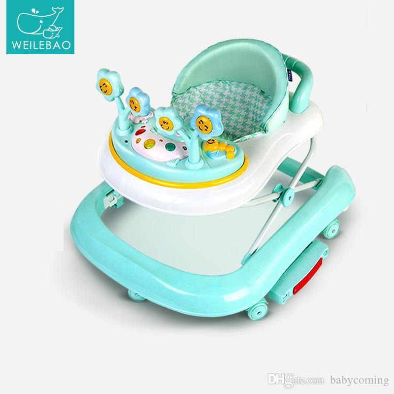 Venta caliente plegable andadores con música y bandeja de juguetes, anti-vuelco del bebé del caballo mecedora, de múltiples funciones del coche de bebé