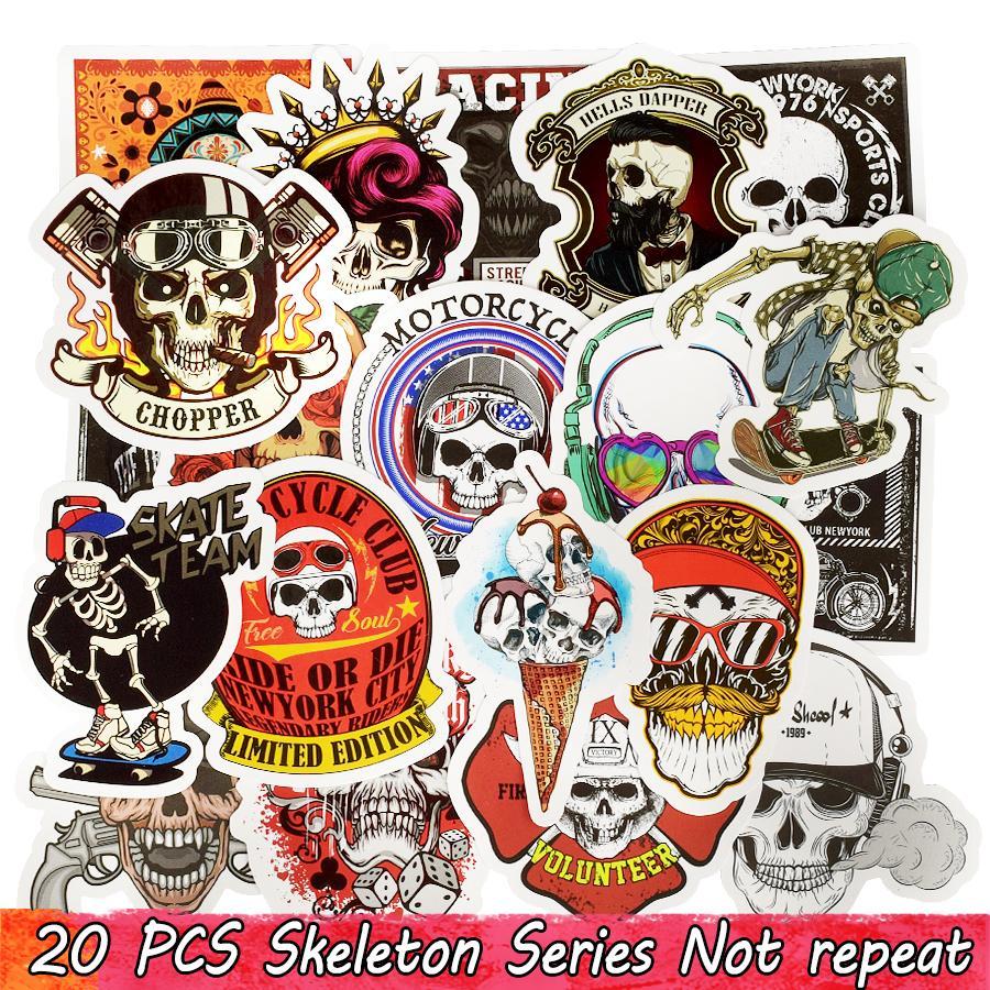 20 PCS Punk Skull Vinyl Stickers Bomb Horror Doodle Decals Waterproof for DIY Laptop Skateboard Guitar Bicycle Motorbike Decoration Gifts