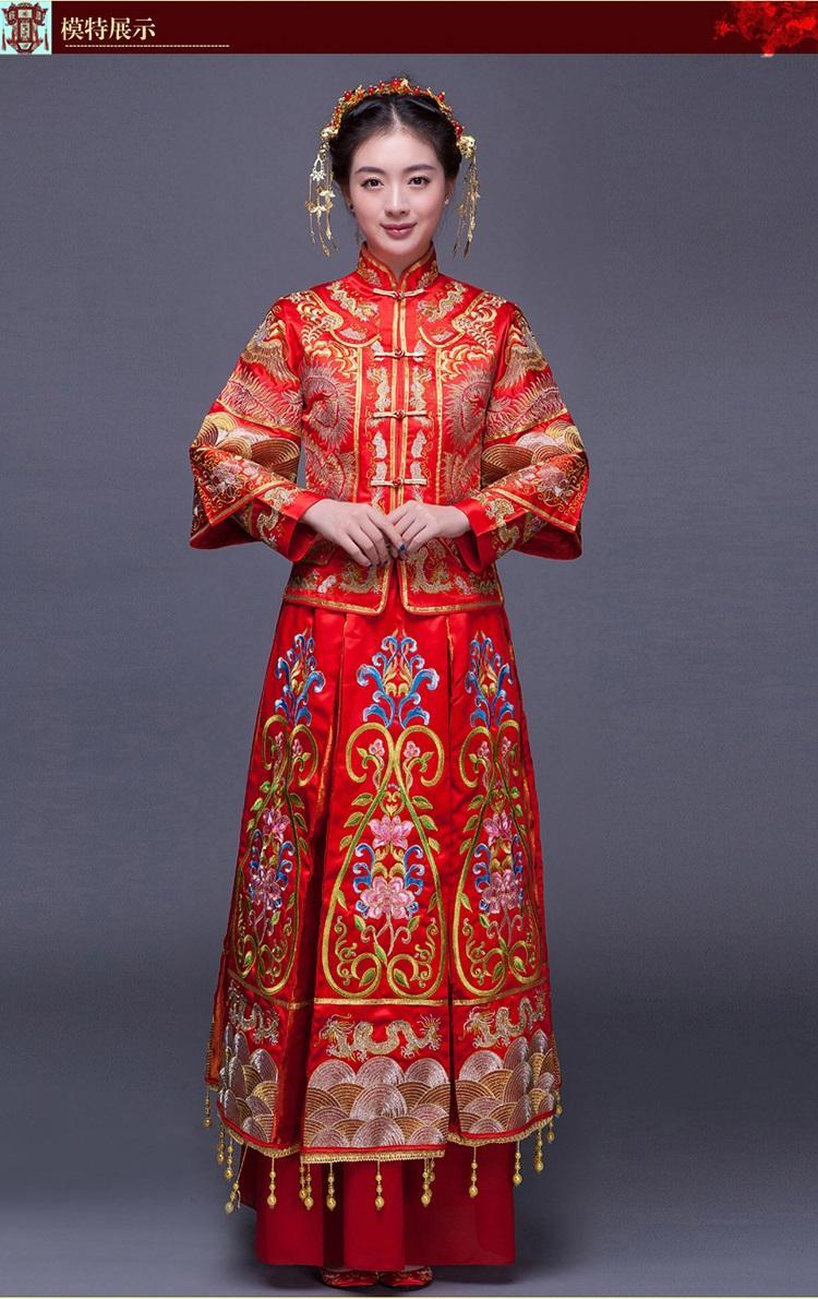 Großhandel Luxus Alten Royal Red Stickerei Chinesischen Braut  Hochzeitskleid Qipao Chinesische Traditionellen Kleid Frauen Oriental Qi  Pao Ethnische
