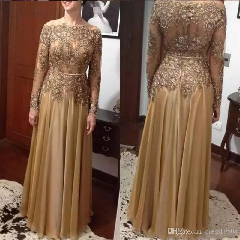 2019 Mother of the Bride Dresses Off The Shoulder Lace Beads Plus Size Formal Evening Dresses Women Formal Wear Long Sleeves Prom Dress