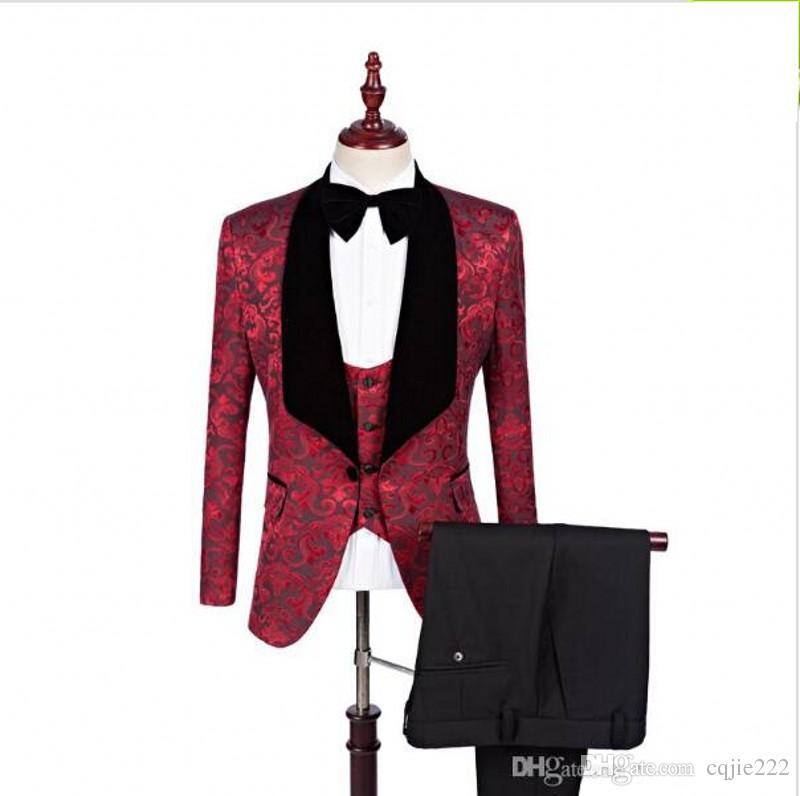 New Real Photo Groomsmen Shawl Lapel Groom Tuxedos One Button Men Suits Wedding Prom Dinner Best Man Blazer (Jacket+Pants+Bow Tie+Vest) 100