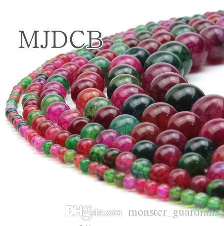 MJDCB Doğal Yuvarlak 4.6.8.10.12.14mm Renkli Crackle Agates Boncuk DIY Kolye Bilezik Takı Yapımı Için Ücretsiz Kargo