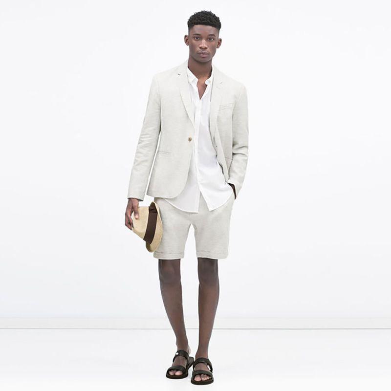 Anzug mit kurzen Hosen neuesten Mantel Hosen Designs blau Slim Fit Männer Anzüge Hochzeit weiß grau Sommer Strand Bräutigam Blazer 2 Stück Smoking