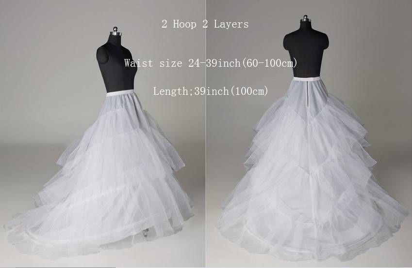 New Bridal's Train Petticoat 2 Hoop Wedding dress Hoopless Crinoline Under Skirt Bridal Accessories Slips Petticoats Hoops