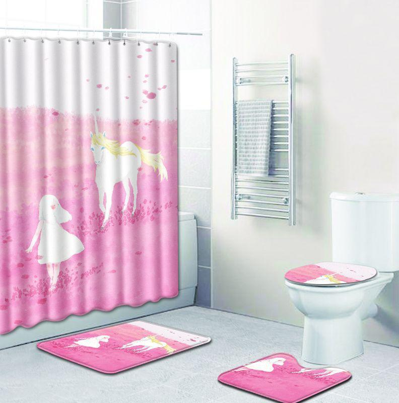 Unicorn Shower Curtain Art Design Child Bath Curtain Kids Gift Bathroom Decor