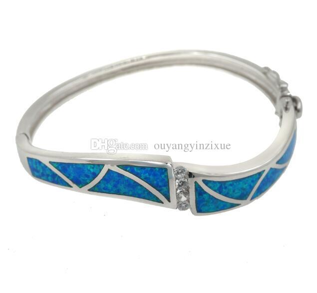 Fire Opal Bangle Bracelet Solid 925 Sterling Silver Lab Australian Blue Opal & Shinning Diamond Clear CZ Trendy Ladies Bangle Gift