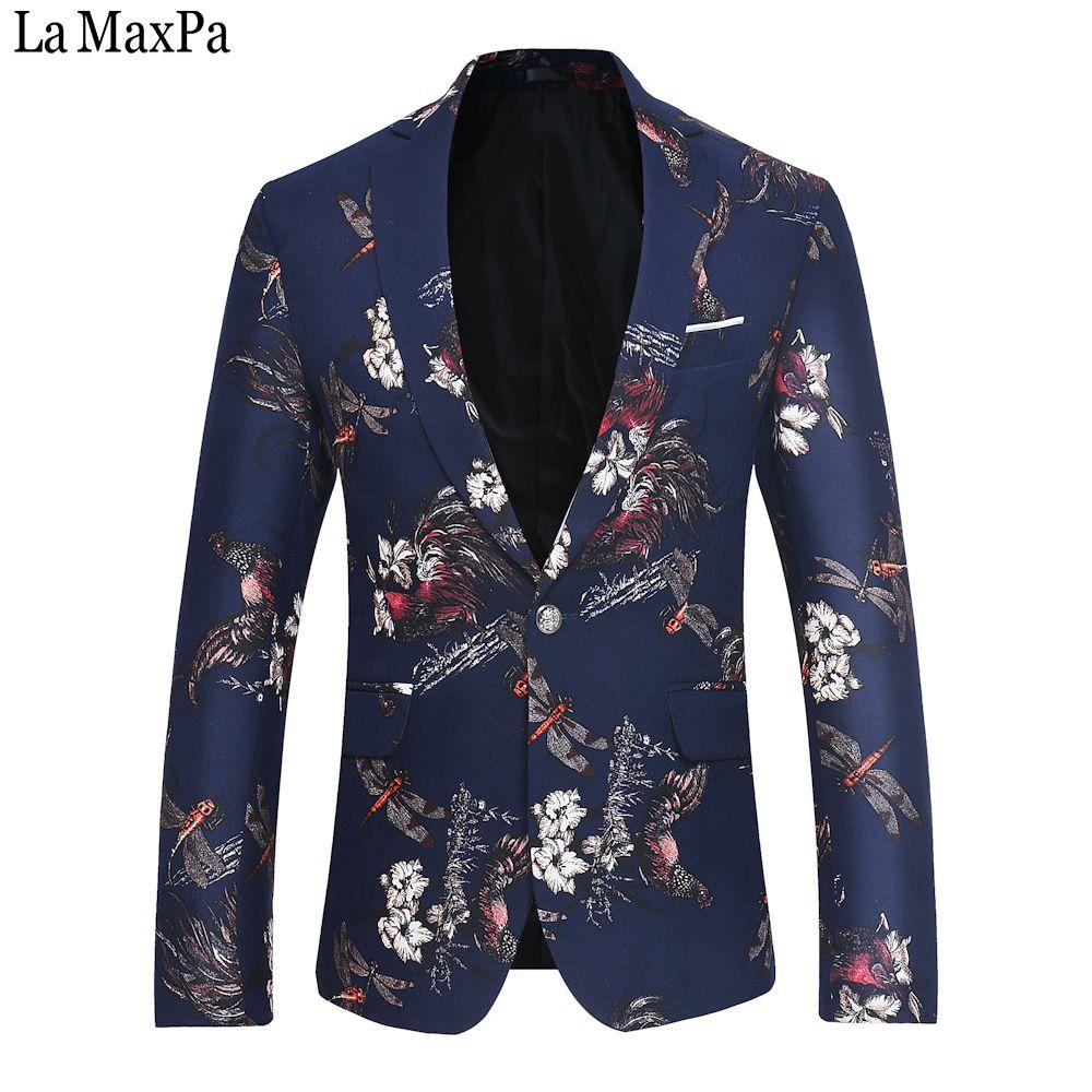 La MaxPa Moda marka erkekler suit blazers ceket tasarımları casual slim fit bahar sonbahar parti düğün balo iş blazer baskı