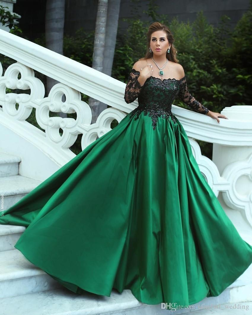 Green Black Ball Gown Evening Dresses Off Shoulder Long Sleeves Sequins  Lace Satin Plus Size Evening Party Gowns Formal Dresses Petite Dresses  Short ...