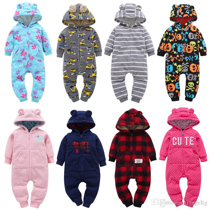 Baby Winter Hooded Rompers Newborn Boy Girl Clothes Jumpsuits Dinosaur Plaid Camouflage Dots Striped Halloween Christmas 3-24M