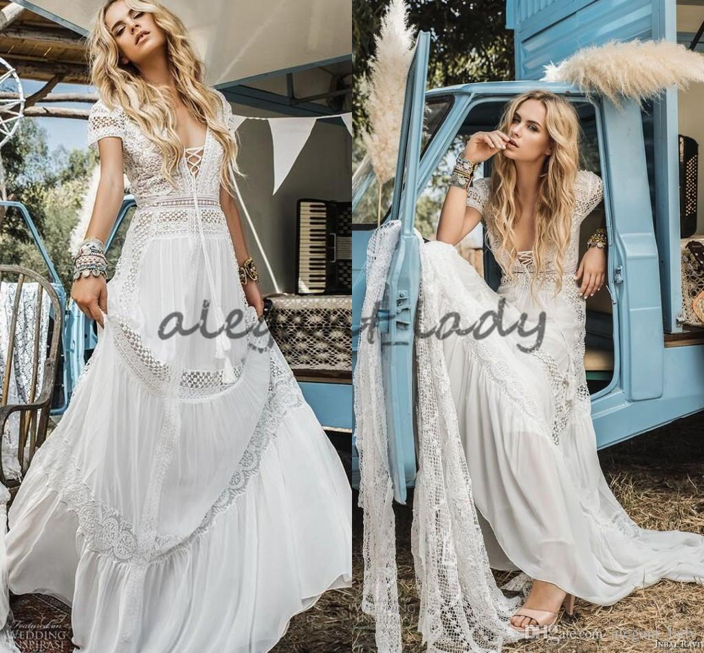 Vintage Crochet Lace Bohemian Beach Wedding Dresses Inbal Raviv Short Sleeve V-neck Flowing Flare Summer Holiday Bridal Dress
