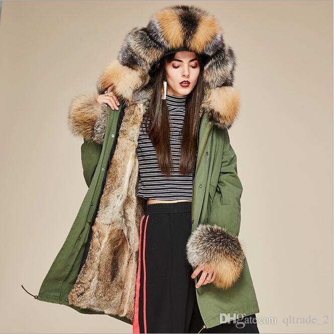 Moda jazzevar brązowy szop futro wykończenia żeński zimne płaszcze kobiety futro kurtka brązowy lis i królik futro podszewka wojska zielony płótno długie parki