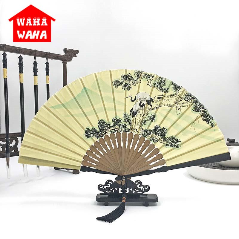 Chinese Style Hand-Painted Cotton Linen Folding Fan Ancient Style Bamboo Fold Fan Wedding Party Souvenir Gift Home Decorative