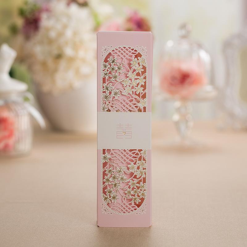 50 шт. китайский свадебные приглашения, приглашения карты, розовый приглашение, приглашение свиток, свадебный подарок XQ1605-ф Свадьба карты