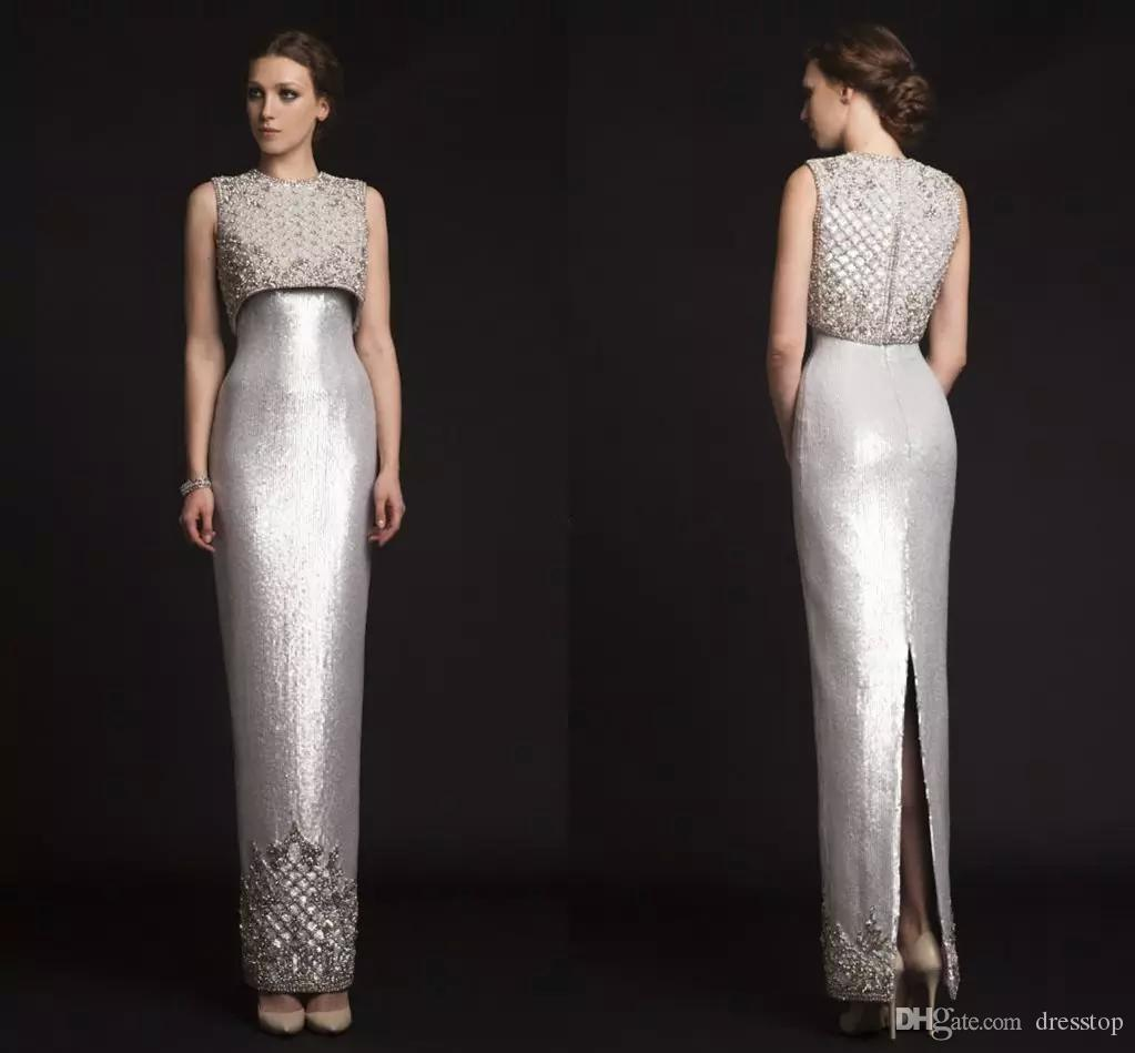 2019 New Luxury Krikor Jabotian Mother Of the bride Dresses Beading Sheath Silver Evening Dress Split Back Formal Gowns
