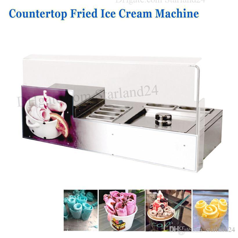 6 Tencere Ticari Kızarmış Kızarmış Dondurma Yoğurt Rulo Makinesi Paslanmaz Çelik ile Kızarmış Dondurma Makinesi Kare Pan