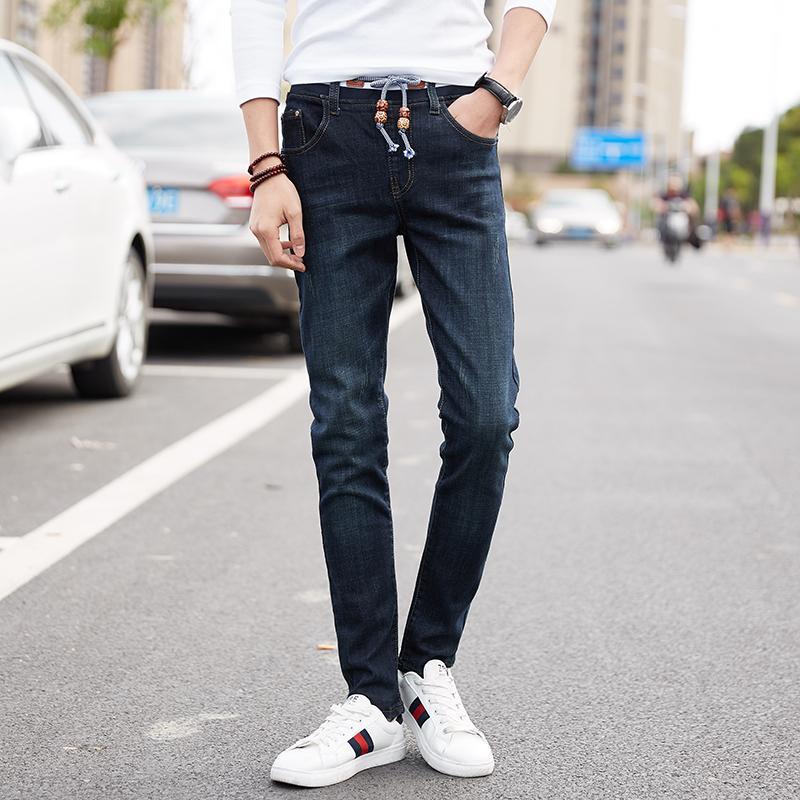 Estilo americano europeu High Street Moda Mens Jeans Azul Preto Cor Elástica Calças de Brim Marca Skinny Tamanho Grande 28-48