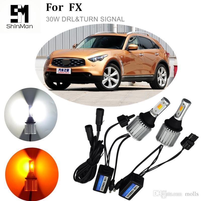 1 Takım Araba DRL Gündüz Farları Dönüş Sinyalleri Oto Led Ampuller Beyaz + Altın Lambalar WY21W 7440 Infiniti FX37 FX 50 2011