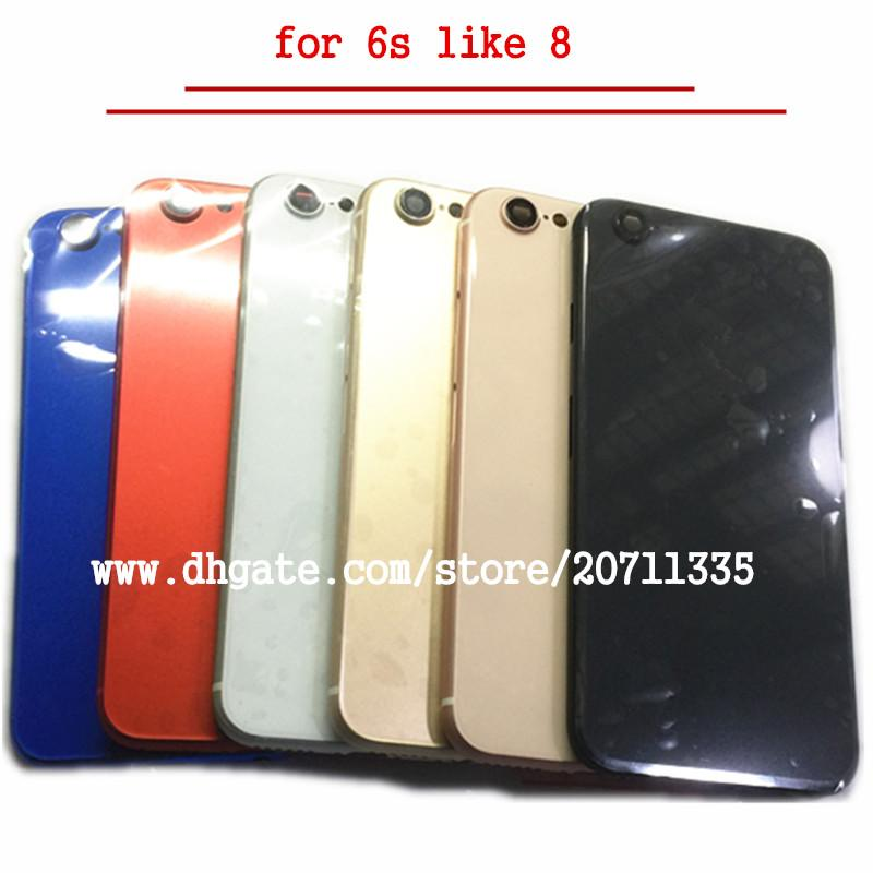 NOUVEAU Pour iPhone 6S Comme 8 Style 8 PLUS Couverture arrière arrière Logement de la batterie Porte Châssis Cadre moyen