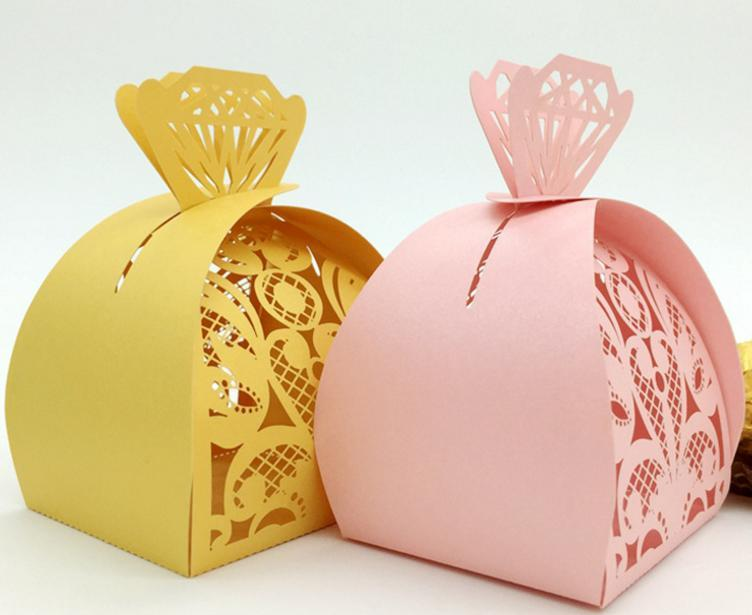DIY Wedding Favor Boxes Hollow Diamond Candy Boxes Chocolate Holder Bags Cake Box Marriage Party Gift Boxes