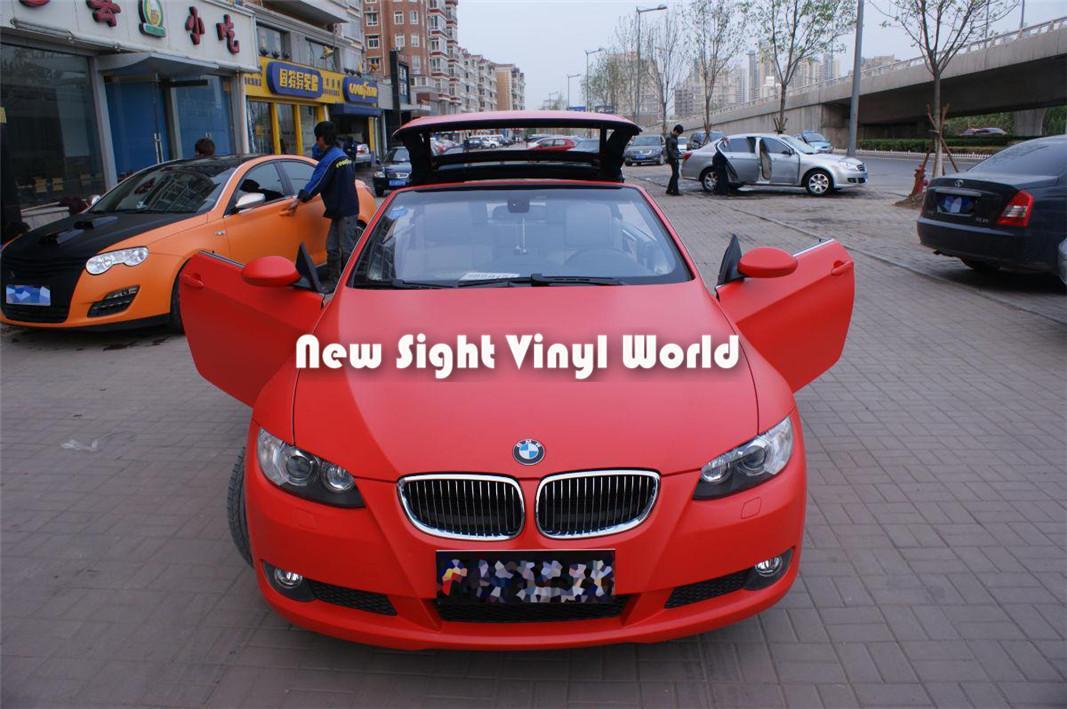 Burbuja de la película de WrapPing del coche del vinilo mate rojo de alta calidad libre para el tamaño de las etiquetas engomadas del coche: 1.52 * 30m / Roll