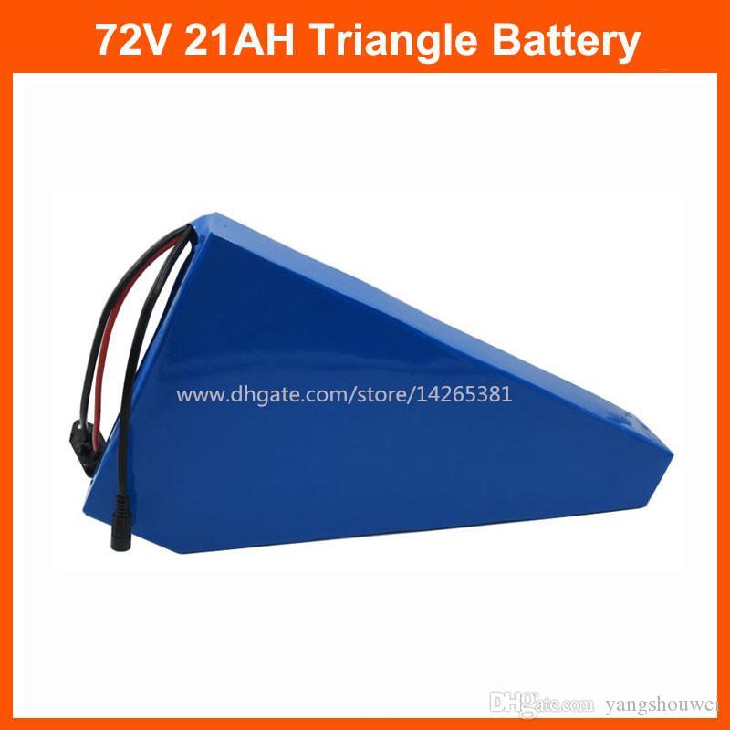 2000 W 72V 21Ah Lityum Pil Paketi 72 V 20AH Üçgen Bateria 72 V Elektrikli Bisiklet Piller 35e 18650 Hücre 40A BMS Ücretsiz Gümrük Vergisi