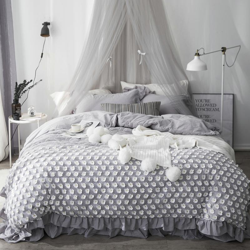 Gray White Princess Bedding Set Twin Queen King Bed Set Cotton Bed
