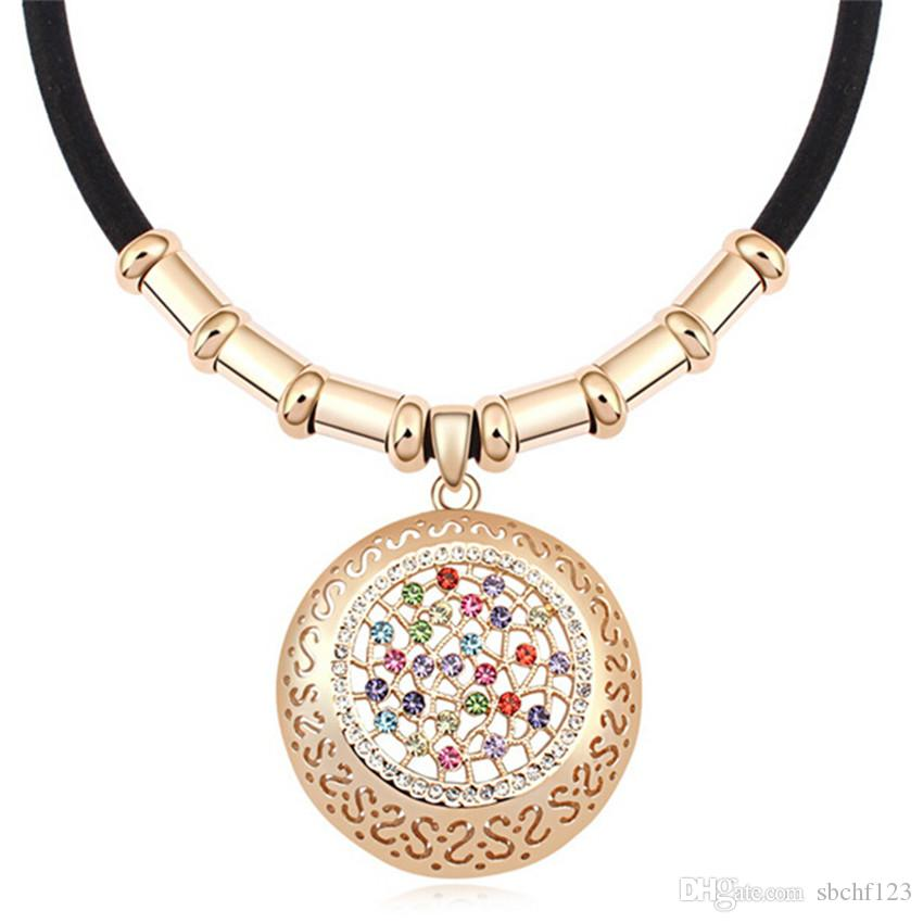 High Quality Crystal Necklace Choker Vintage Necklaces Black Leather Austrian Crystal Rhinestone Charm Pendant For Women 14686