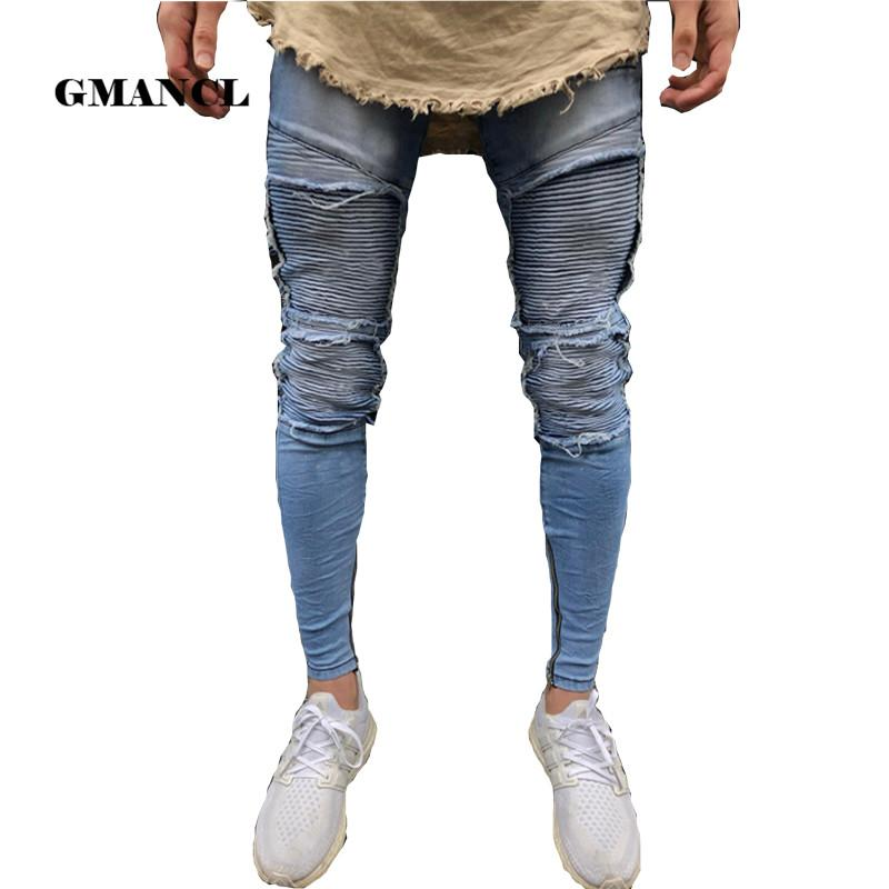 2018 new men's jeans fashion Knee Folds ripped trend hole Skinny Bottom zipper jeans Men Blue Washed Jogger Pants size 28- 38