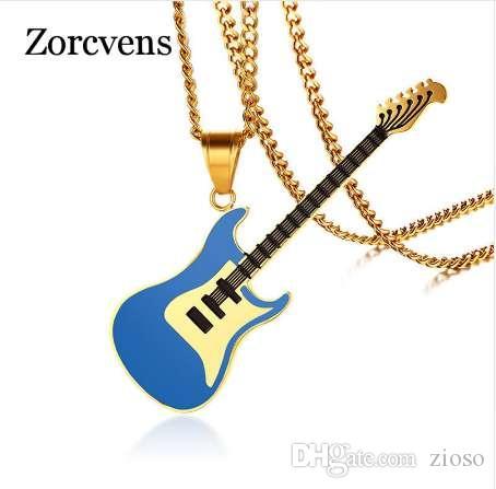 ZORCVENS Collar de Guitarra Para Hombres / Mujeres Music Lover Regalo Negro / Color Oro Colgante de Cadena de Acero Inoxidable Hip Hop Rock joyería