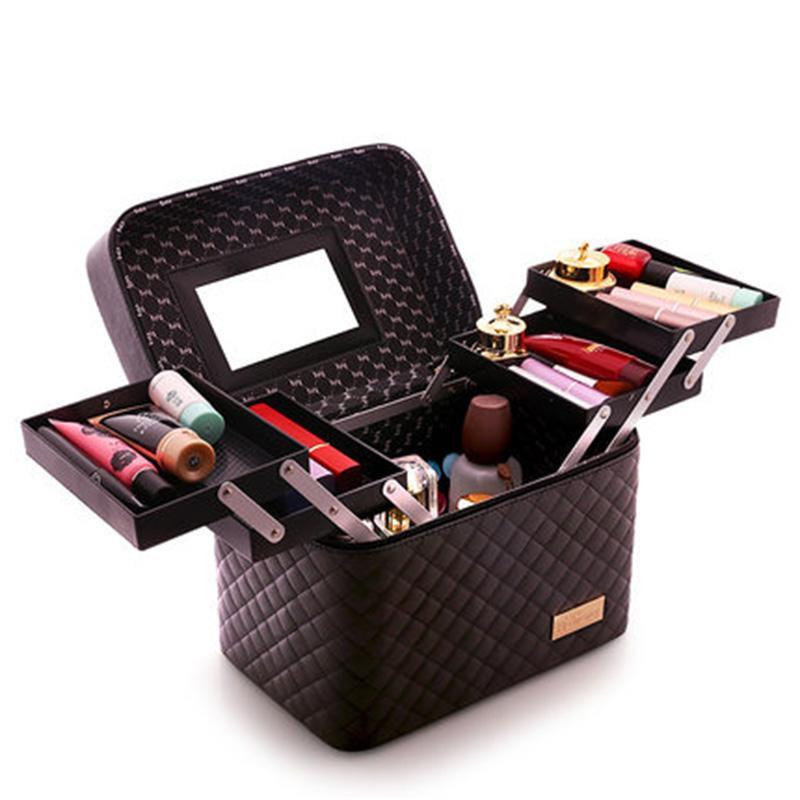 Profesyonel Kadınlar Büyük Kapasiteli Makyaj Organizatör Vaka Moda Tuvalet Kozmetik Çantası Çok Katmanlı Saklama Kutusu Taşınabilir Bavul