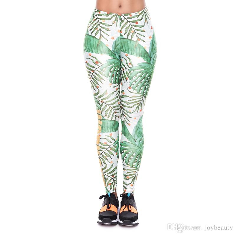 Girl Leggings Work Out Gold Palm 3D Print Women Skinny Stretchy Pants Lady Comfortable Sportwear Yoga Soft Trousers (YX52005)