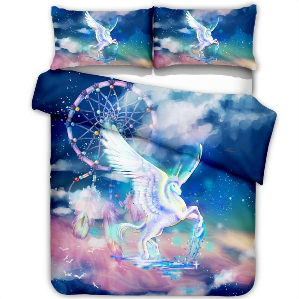 Galaxy Dreamcatcher Unicorn Printed Duvet Cover Pillowcase Set 2/3pcs Single/Double/Queen/King Size Bedding Set (No Filling)