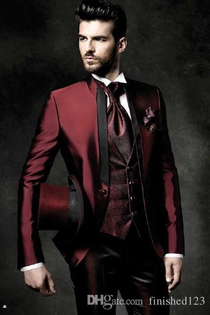 Yüksek Kaliteli Tek Düğme Parlak Koyu Kırmızı Damat Smokin Standı Yaka Groomsmen En Iyi Adam Mens Düğün Takım Elbise (Ceket + Pantolon + Yelek + Kravat) No: 1232