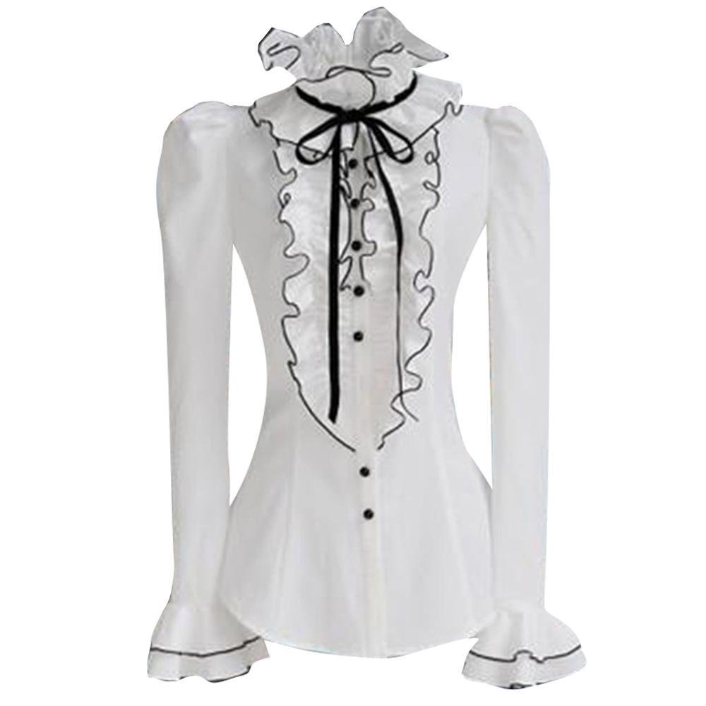 Vintage Retro Womens Hauts et Blouses CHEAPEST femmes été Automne Blouse F0013 Blanc Flare Sleeve à volants Cou Buste
