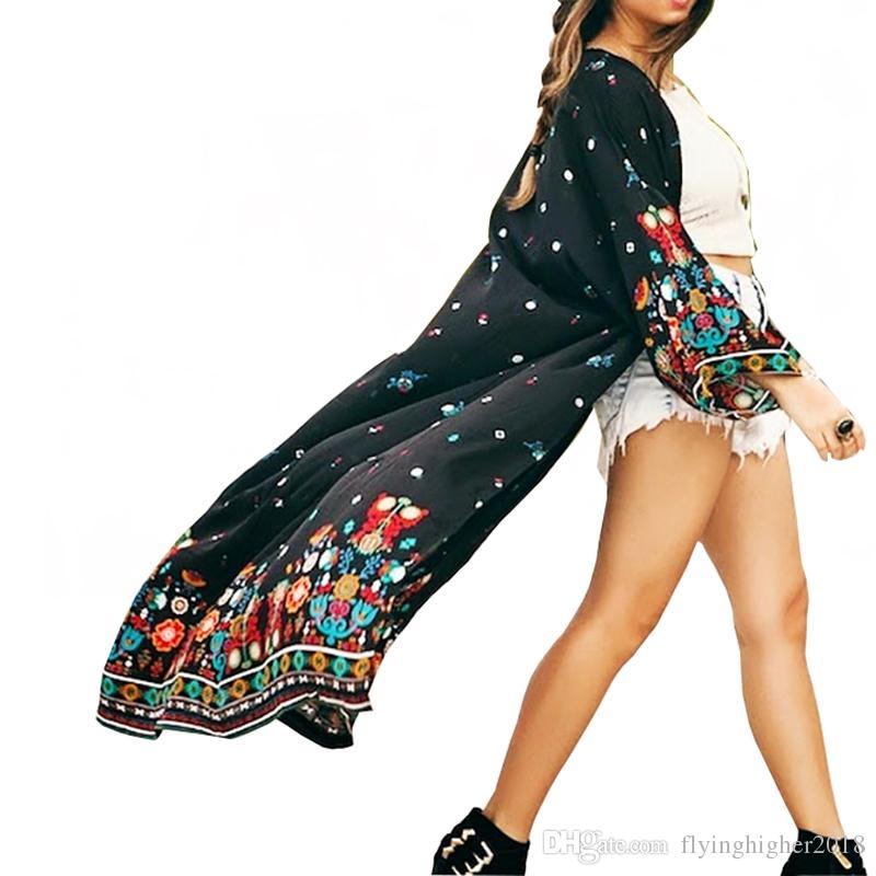 Yeni Uzun kumsal Pareos Beachwear için Mujer Robe de Plage Tunics'in kadar Plaj Kapağı yazdır
