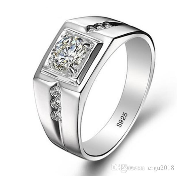 Real 925 Sterling Silver Rings for Man Hot Sale Men Wedding Jewelry Ring 0.75 Ct CZ Diamant Engagement Ring
