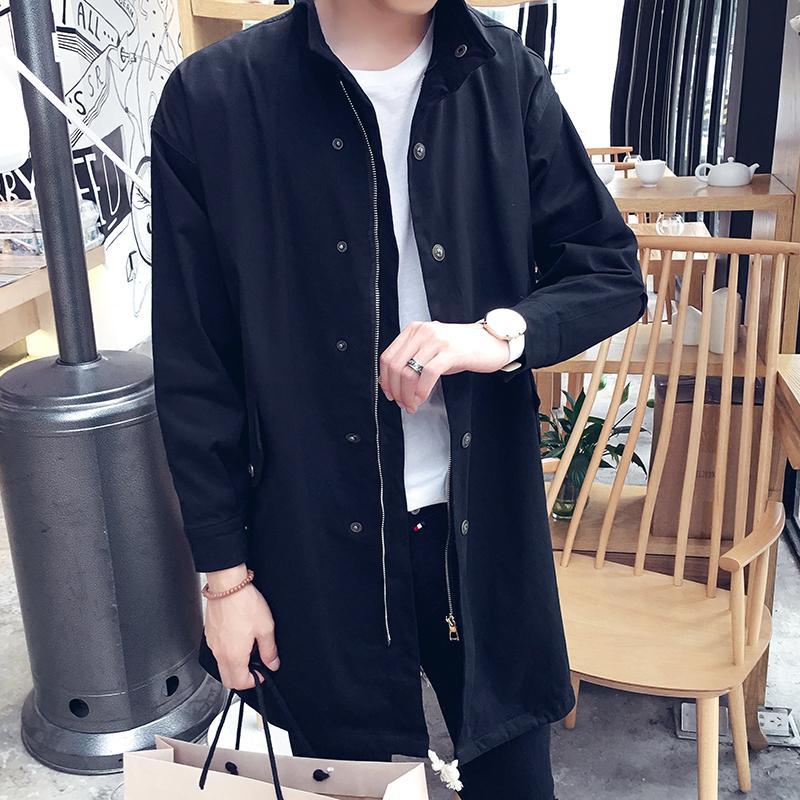 Chaqueta larga del viento chaquetas casuales abrigos delgados de la manera hombres de la capa de talla grande 2018 primavera y el otoño de la temporada de los nuevos hombres