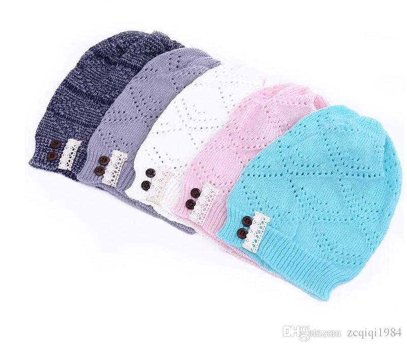5colors cute Knitted Beanie Hat Lace brim Button Warm Hats Beret Hedging Cap Winter Hat Warm Baggy Wool Crochet Hat
