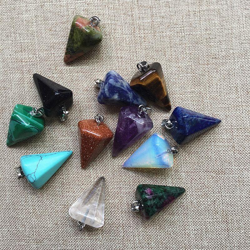 Amethyst Opalite Turquoise Lapis Lazuli Chakra Long Hexagonal Pendant Necklace