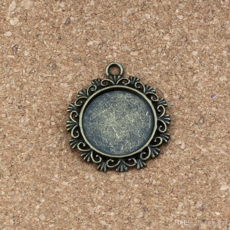 Marco de fotos redondo colgantes del encanto 50 unids / lotes 30x34mm joyería de la aleación DIY Fit Pulseras Collar Pendientes de plata antigua / bronce A-333