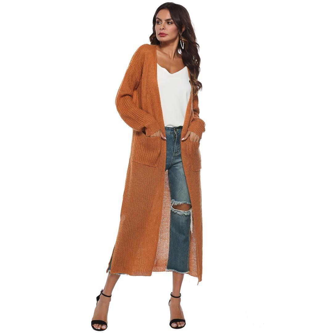 Женская траншея мода большие карманы открытый стежок сплошной цвет
