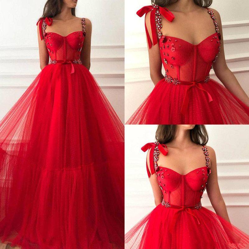 레드 크리스탈 롱 댄스 파티 드레스 Vestidos de Fiesta 플러스 사이즈 2019 라인 얇은 명주 얇은 공주 미인 파티 공식 이브닝 가운 저렴한