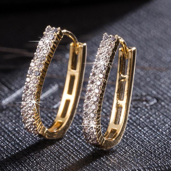 Nachgeahmte voller Kristallgold 18K überzog Luxus-Ohrringe für Frauen Hochzeit Brautmode Ohrring