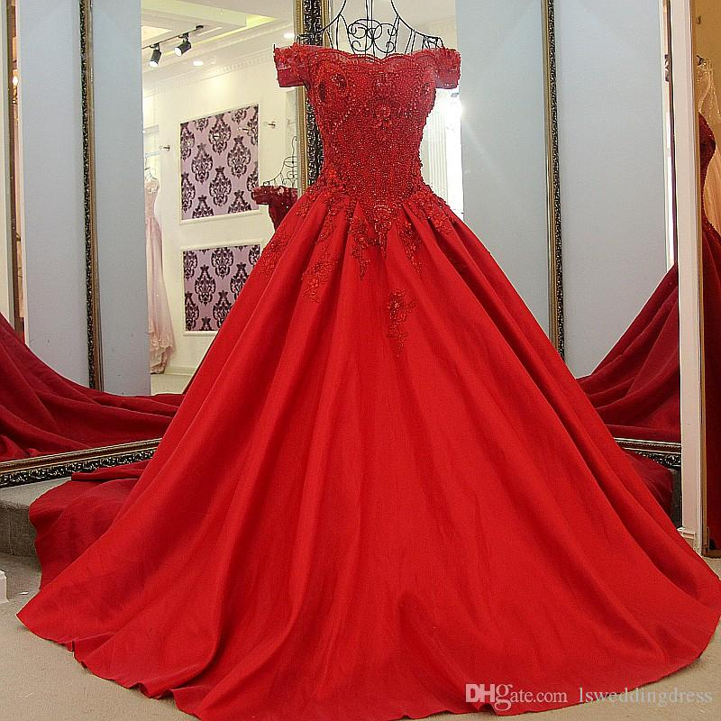 2019 Sexy Red Evening Real Images Dress Crystal Luxury Beaded Pearls Off The Shoulder Corset Lace-up Back Ball Gown Satin Evening Gowns Long